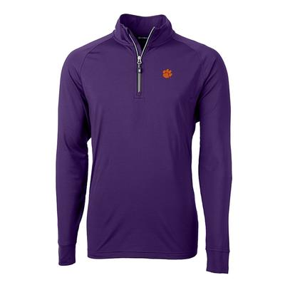 Clemson Cutter and Buck Adapt Eco Knit 1/4 Zip Pullover