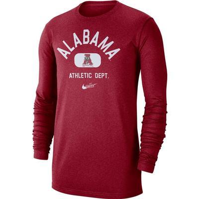 Alabama Nike Men's Textured Arch Long Sleeve Tee