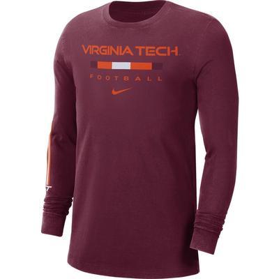 Virginia Tech Nike Men's Football Long Sleeve Tee
