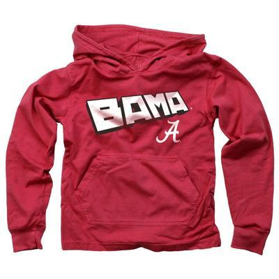 Alabama Kids Angled Long Sleeve Hooded Tee