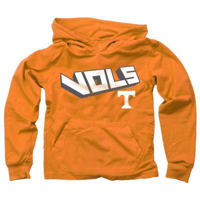 Tennessee Kids Angled Long Sleeve Hooded Tee