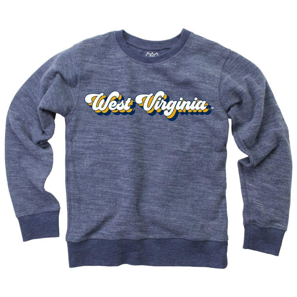 West Virginia Kids Reverse Fleece Long Sleeve Pullover
