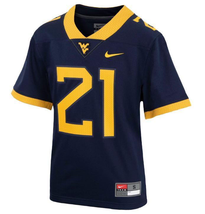 West Virginia Nike Youth Replica # 21 Football Jersey