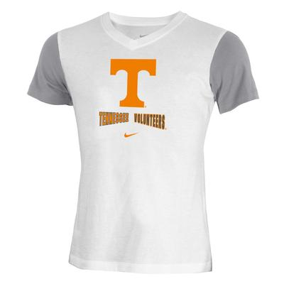 Tennessee Nike YOUTH Color Block V Neck Tee