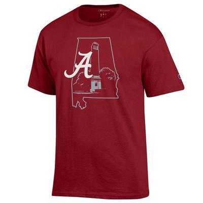 Alabama Champion Men's State Building Logo Tee