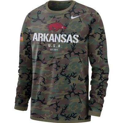 Arkansas Nike Dri-FIT Military Long Sleeve Tee