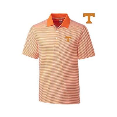 Tennessee Cutter and Buck Big and Tall Trevor Stripe Polo ORG_BURST/WHT