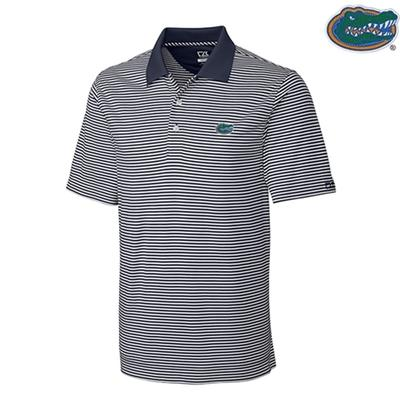 Florida Cutter and Buck Big and Tall Trevor Stripe Polo ONYC/WHITE
