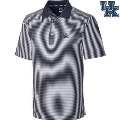Kentucky Cutter and Buck Big and Tall Trevor Stripe Polo ONYX/WHITE