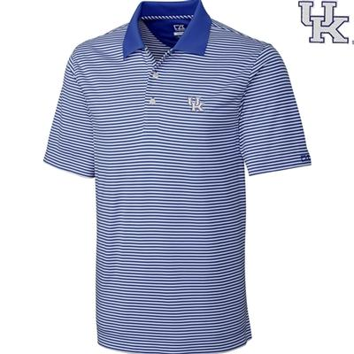 Kentucky Cutter and Buck Big and Tall Trevor Stripe Polo TOUR_BLUE/WHT