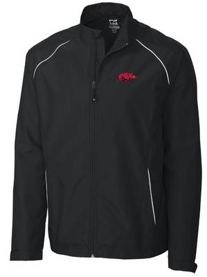 Arkansas Cutter and Buck Big and Tall Weathertec Beacon Full Zip Jacket BLACK