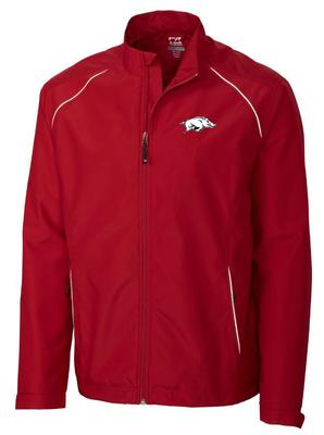 Arkansas Cutter and Buck Big and Tall Weathertec Beacon Full Zip Jacket CARDINAL