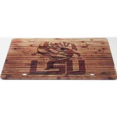 LSU License Plate Wood Grain Tiger Eye Logo
