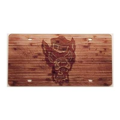 NC State Wood Grain Finish License Plate